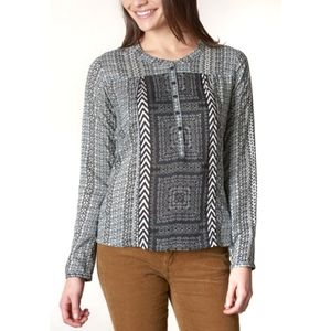 NWT Prana Gravel Geometrical Inka Button Front Top